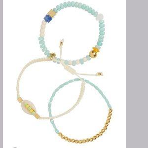 Set of 3 Cowrie Shell Beaded Bracelets MADEWELL